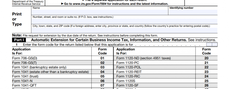 Form 7004 - business tax extension